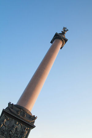 Alexander Column on Palace Square in St  Petersburg  Russia photo