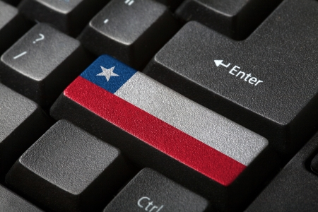 The Chile flag button on the keyboard  close-up photo