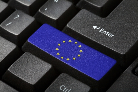 The European Union Flag button on the keyboard  close-up photo