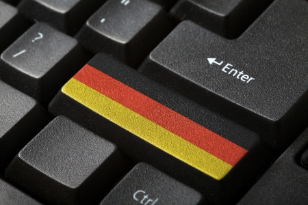 The German flag button on the keyboard  close-up photo