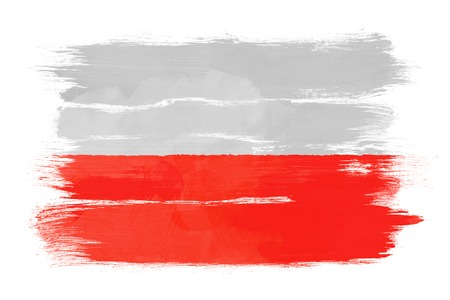 The Polish flag painted on white paper with watercolor photo