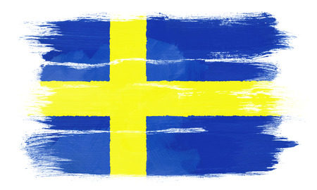 The Swedish flag painted on white paper with watercolor photo