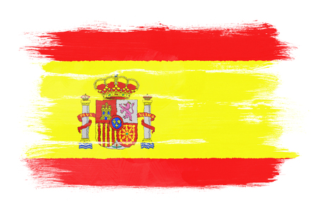 The Spanish flag painted on white paper with watercolor photo