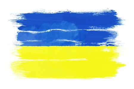 The Ukrainian flag painted on white paper with watercolor photo