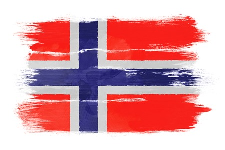 The Norwegian flag painted on white paper with watercolor photo
