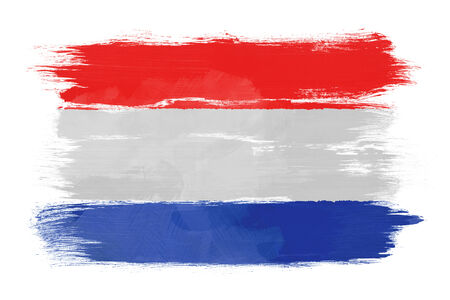 The Netherlands flag painted on white paper with watercolor photo