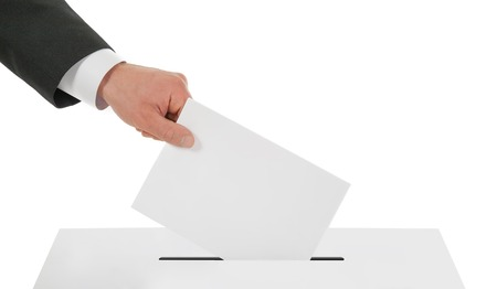 man s: Man s hand down the ballot in the ballot box  Isolated on white Stock Photo