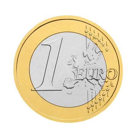 One euro coin - isolated on white background 스톡 콘텐츠