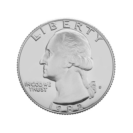25 cents: American one quarter coin isolated on white background Stock Photo