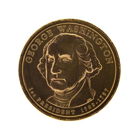 george washington: George Washington Presidential Dollar coin - isolated on white background