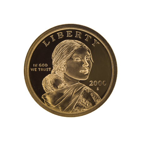 us coin: US Sacagawea - one dollar coin, isolated on white