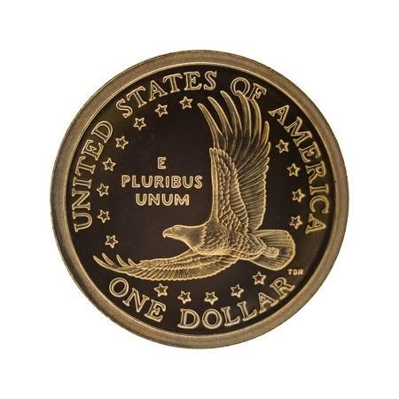 monedas antiguas: Moneda de un d�lar estadounidense - aislado en fondo blanco