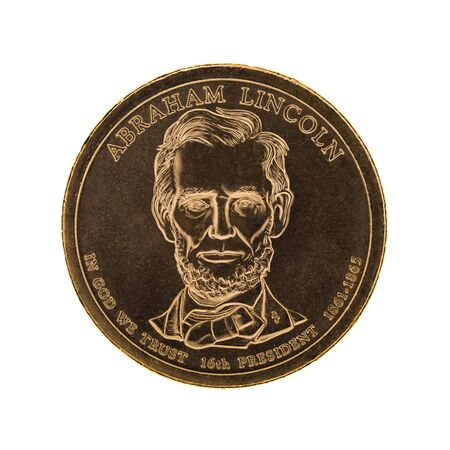 us coin: US Presidential One Dollar Coin - Abraham Lincoln. Isolated on white background