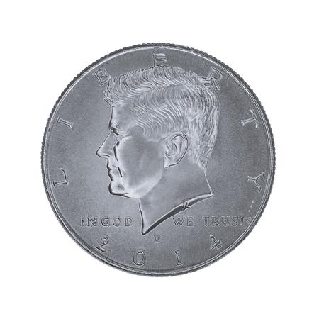 half cent: John F Kennedy Half Dollar on white background Stock Photo