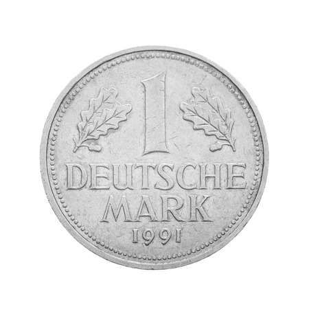minted: Frontal view of the obverse side of 1 Deutsche Mark coin minted in 1991. Depicted is the denomination of the coin between Oak leaves. Isolated on white background.