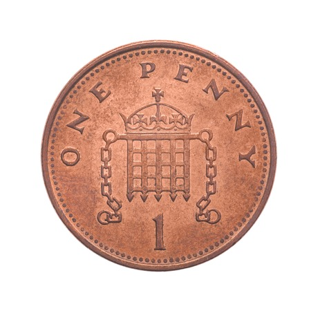 uk money: British One Penny Coin Reverse Showing a Crowned Portcullis with Chains - Isolated on white background