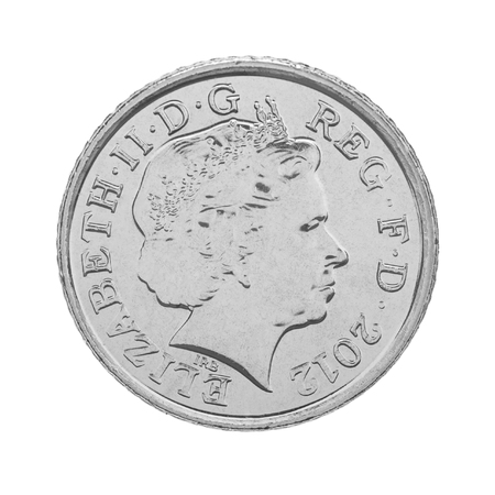 obverse: British Five Pence Coin Obverse Showing Queen Elizabeth the Second - isolated on white Stock Photo
