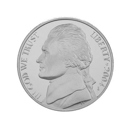 cents: American five cents coin isolated on white background. Thomas Jefferson 5 cents, louisiana