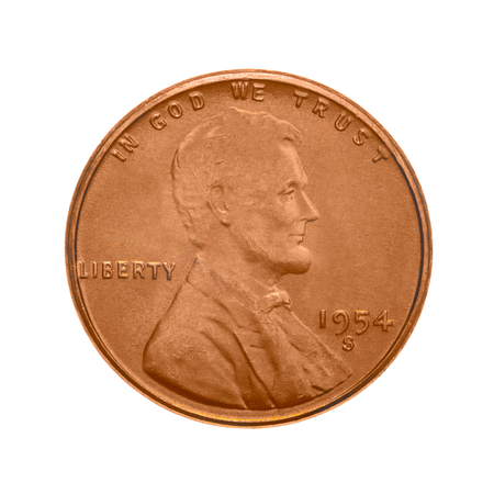 obverse: American one cent coin. The obverse side - Abraham Lincolns portrait. Isolated on white background.