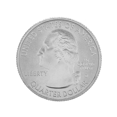 25 cents: American one quarter coin isolated on white background. George washington quarter