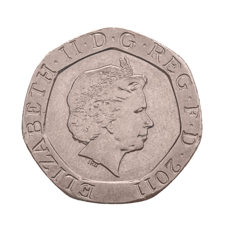an obverse: British Twenty Pence Coin Obverse Showing Queen Elizabeth the Second - isolated on white background