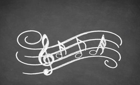 alumnos en clase: Las notas musicales - hechas con tiza blanca sobre una pizarra