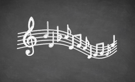 alumnos en clase: Musical notes - made with white chalk on a blackboard
