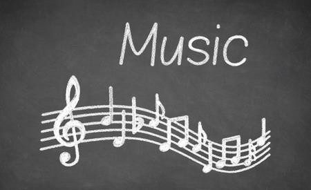 alumnos en clase: Música - hecha con tiza blanca sobre una pizarra