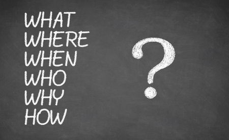 when: What, Where, Who, Why, When, How - made with white chalk on a blackboard, concept