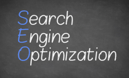 indexing: SEARCH ENGINE OPTIMIZATION - made with white chalk on a blackboard Stock Photo