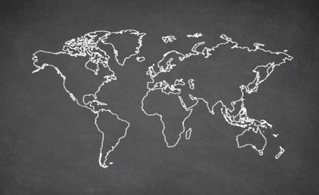 World map drawn on chalkboard. Chalk and blackboard.