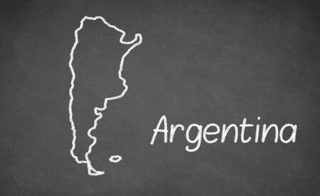 argentina map: Argentina map drawn on chalkboard. Chalk and blackboard.