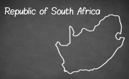 south africa map: South Africa map drawn on chalkboard. Chalk and blackboard. Stock Photo