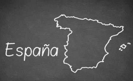 spain map: Spain map drawn on chalkboard. Chalk and blackboard.