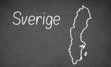 education in sweden: Sweden map drawn on chalkboard. Chalk and blackboard. Stock Photo