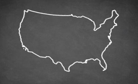 United States map drawn on chalkboard. Chalk and blackboard.