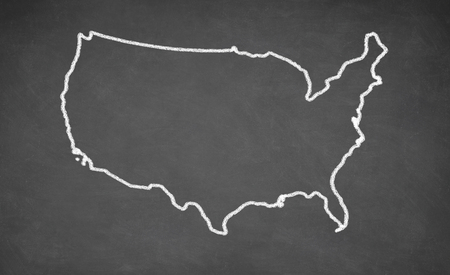 United States map drawn on chalkboard. Chalk and blackboard. 版權商用圖片 - 50657936
