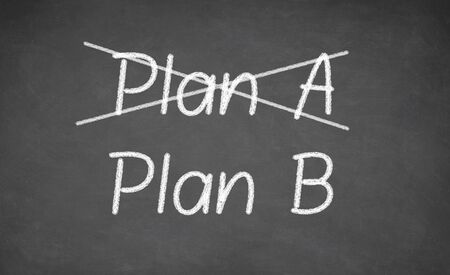 plan b: Crossing out Plan A and writing Plan B on chalkboard