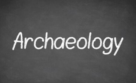 archaeology: Archaeology lesson on blackboard or chalkboard. written in white chalk