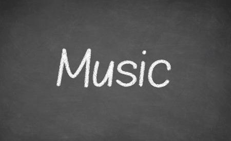 word art: Music lesson on blackboard or chalkboard. written in white chalk