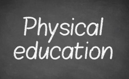 educacion fisica: clase de educación física en la pizarra o pizarrón. escrito con tiza blanca