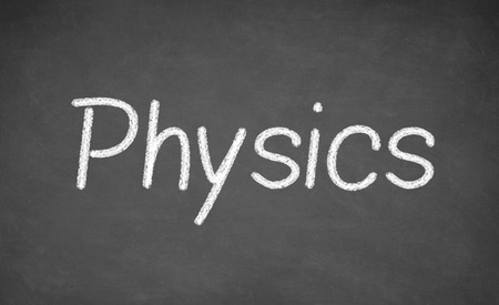 mc2: Physics lesson on blackboard or chalkboard. written in white chalk Stock Photo