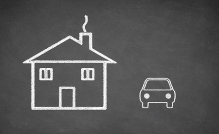 white chalk: House and car drawing on chalkboard. White chalk and balckboard Stock Photo
