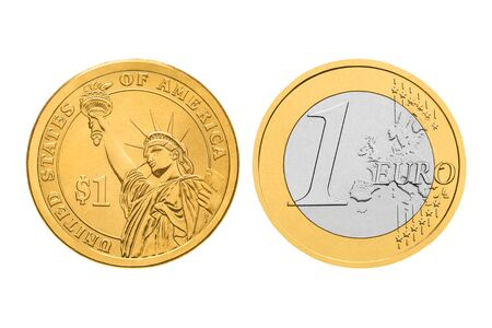 gold and silver coins: One dollar and one euro coins. Isolated on white background