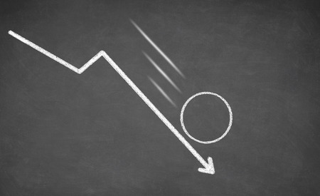 Line graph with an empty circle showing a downward trend. White chalk on blackboard