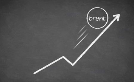 brent: Growth Brent. Arrow growth up. Drawn with white chalk on blackboard Stock Photo