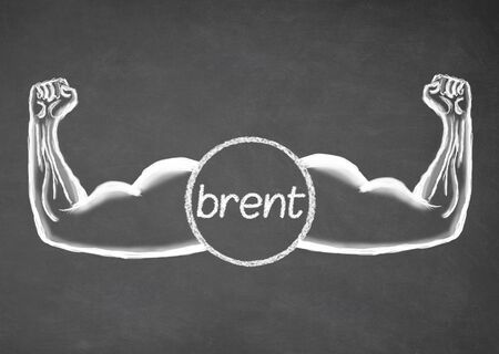 brent: Strong Brent. Financial concept. Drawn muscle on blackboard. Closeup