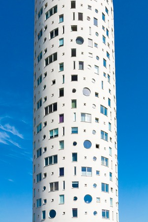 Building - block of flats. On th sky background
