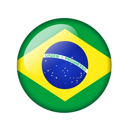 brazilian flag: The Brazilian flag. Round glossy icon. Isolated on white background.