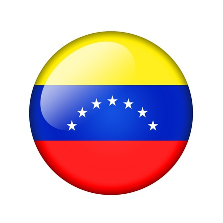 venezuelan: The Venezuelan flag. Round glossy icon. Isolated on white background. Stock Photo